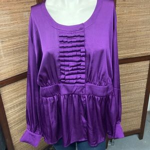 A List Alvin Valley Purple Plus Blouse 2X